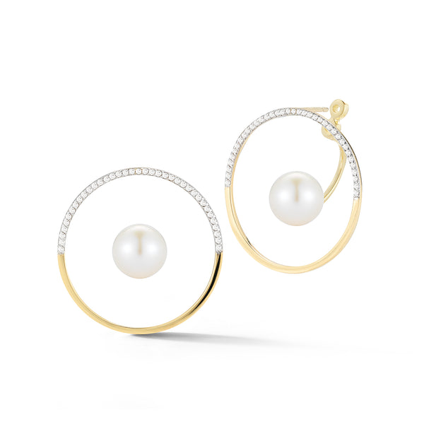 Half Moon Floating Pearl Hoops
