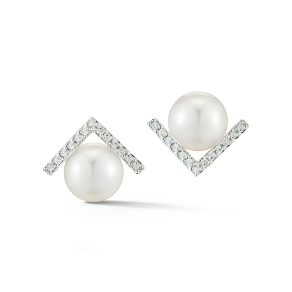 Right Angle Diamond Pearl Studs