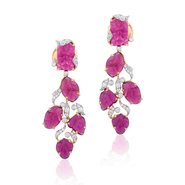 """G-One"" Rubellite Carved Earrings"