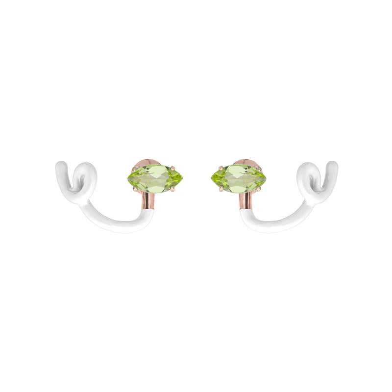 Peridot & White Tendril Crawler Earrings