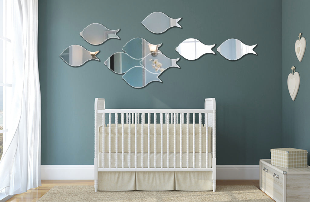 "Swimming Fish 3D Acrylic Mirror Decoration (4pcs,12.8""*6.9""/pc, 1/8"" thick)"