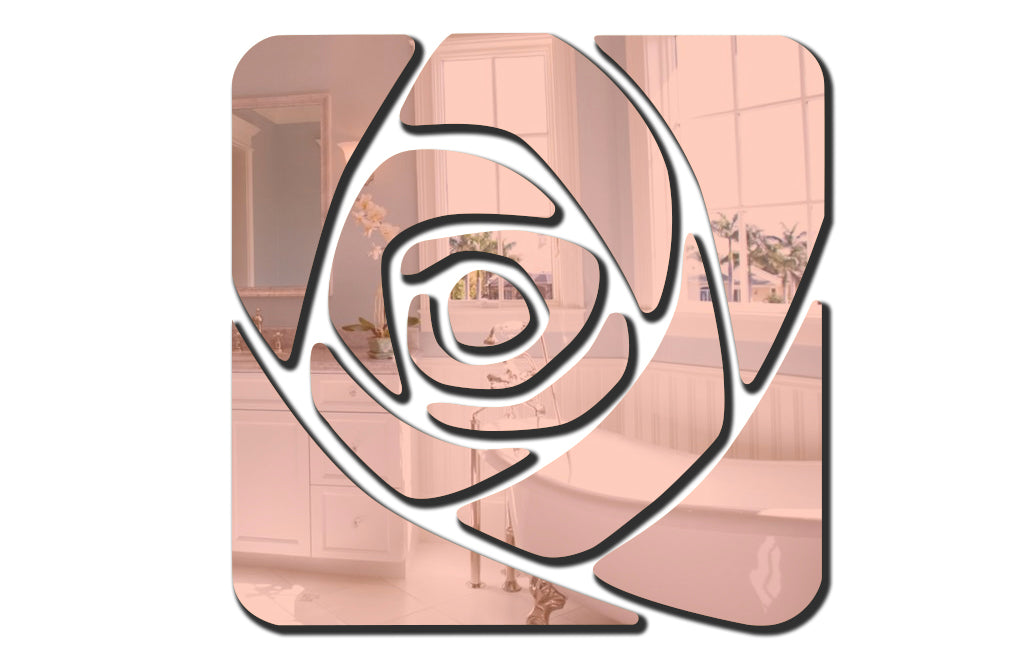 "Large Rose 3D Acrylic Mirror Decoration (28.4""*28.4"", 21.8""*21.8"", 1/8"" thick)"
