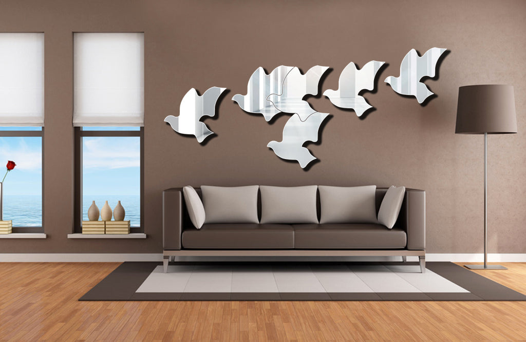 "Flying Birds 3D Acrylic Mirror Decoration  (2pcs, 10.8""*10.8""/pcs, 1/8 thick)"