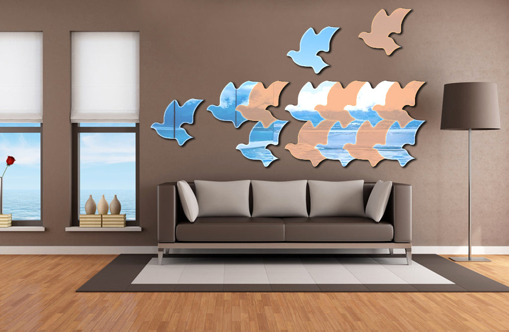 "Flying Birds 3D Acrylic Mirror Decoration (4pcs, 11.7""*10.4""/Piece, 1/8 thick)"