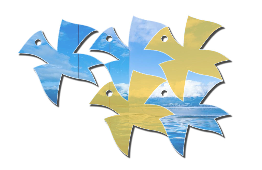 "Flying Birds Inspired by Master Escher || 3D Acrylic Mirror Decoration (4pcs, 10.8""*10.8""/pcs, 1/8 thick)"