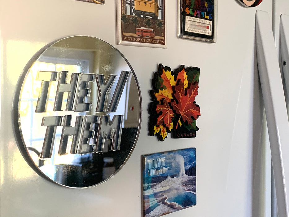 "Singular They Cultural Icon Acrylic Mirror Decoration(5""*5""/pc, 1/8"" thick,Ready to Strike)"
