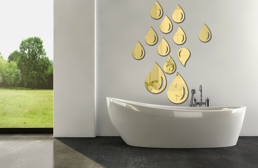 "Water Droplets 3D Acrylic Mirror Decoration (Large: 2pcs: 10.1""*15.2""/pcs; Small: 10pcs: 5.8""*8.8""/pcs)"