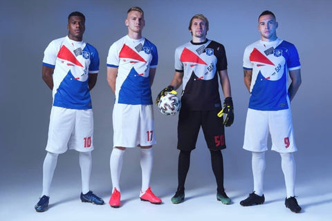 FC Vitebsk football team uniform based on Lissitzky poster, Beat the Whites with the Red Wedge