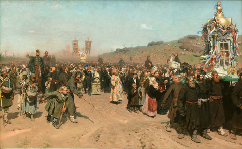 Ilya Repin, Religious Procession in Kursk Province (1880-1883) Painting