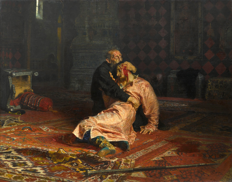 Ivan the Terrible and His Son Ivan on November 16th, 1581, Ilya Repin (1885) Painting