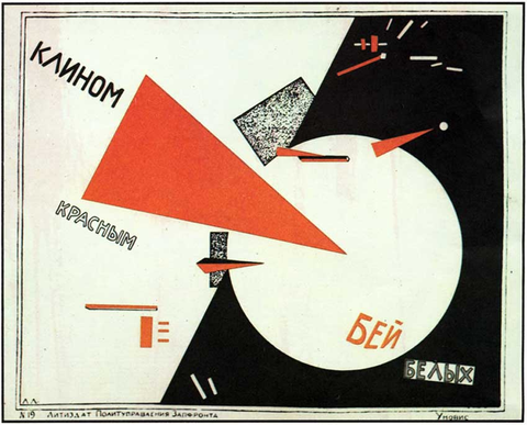 Lazar Markovich Lissitzky, Beat the Whites with the Red Wedge (1919) Propaganda Poster