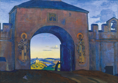 Nicholas Roerich, And We are Opening the Gates. From the «Sancta» Series, 1922 Painting