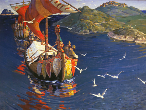 Nicholas Roerich, Guests from Overseas (1901) Painting