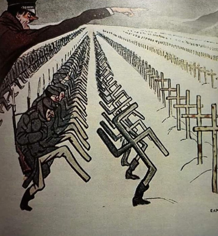 Soviet propaganda poster (1944) depicting German soldiers turning into swastikas and then headstones on the Eastern Front