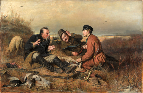Vasily Perov, The Hunters at Rest (1871) Painting