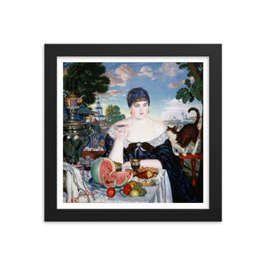 Boris Kustodiev, The Merchant's Wife at Tea (1918) Framed Poster