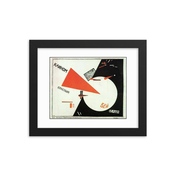 Lazar Markovich Lissitzky, Beat the Whites with the Red Wedge (1919) Framed Poster