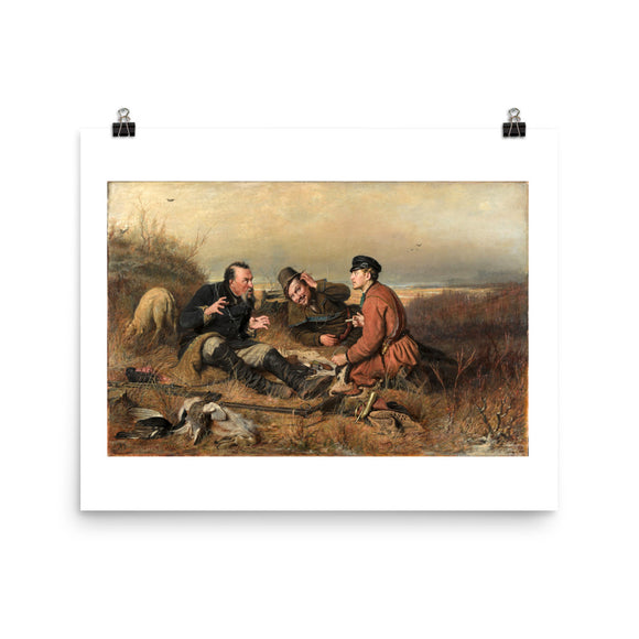 Vasily Perov, The Hunters at Rest (1871) Painting Poster