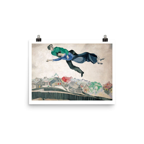 Marc Chagall, Over the Town (1918) Painting Poster