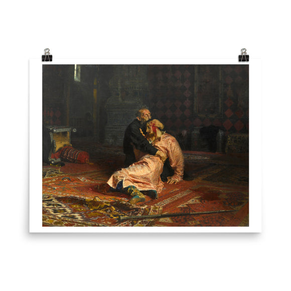 Ivan the Terrible and His Son Ivan on November 16th, 1581, Ilya Repin (1885) Painting Poster