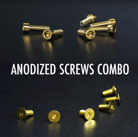 Annodized Steering and Quick Release Screws Combo Pack Gold
