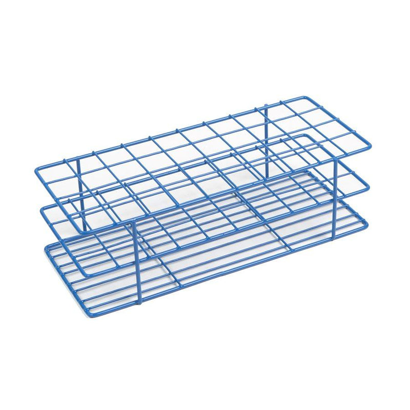 Heathrow Scientific 120766 Coated Wire Tube Rack 18-22mm 4x10 Format, Blue