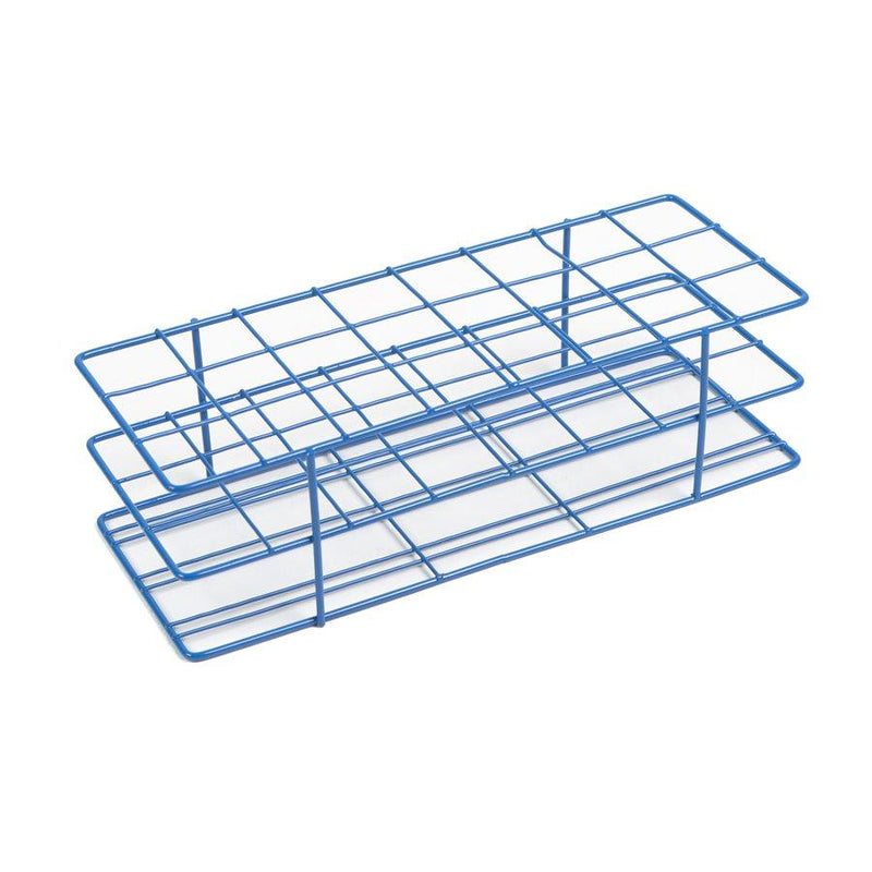 Heathrow Scientific 120769 Coated Wire Tube Rack 20-25mm 3x8 Format, Blue