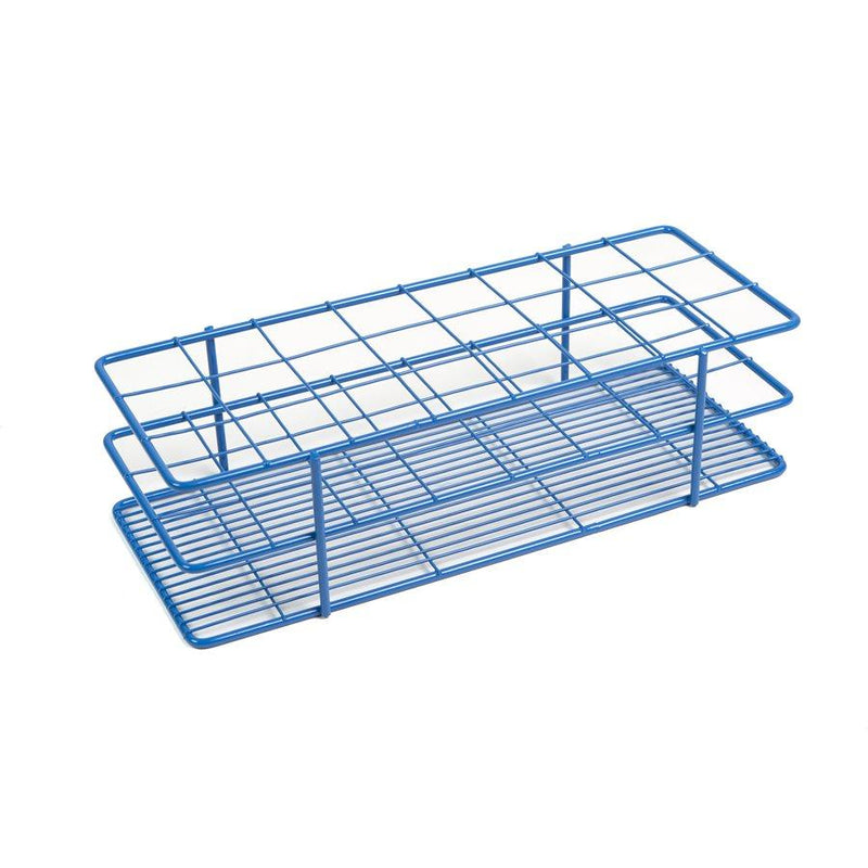 Heathrow Scientific 120772 Coated Wire Tube Rack 35-40mm 6x8 Format, Blue