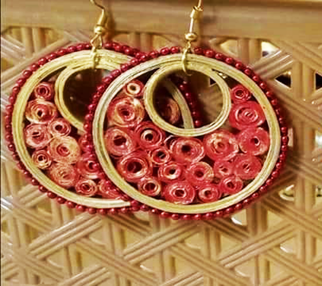 Red Quilled Earring