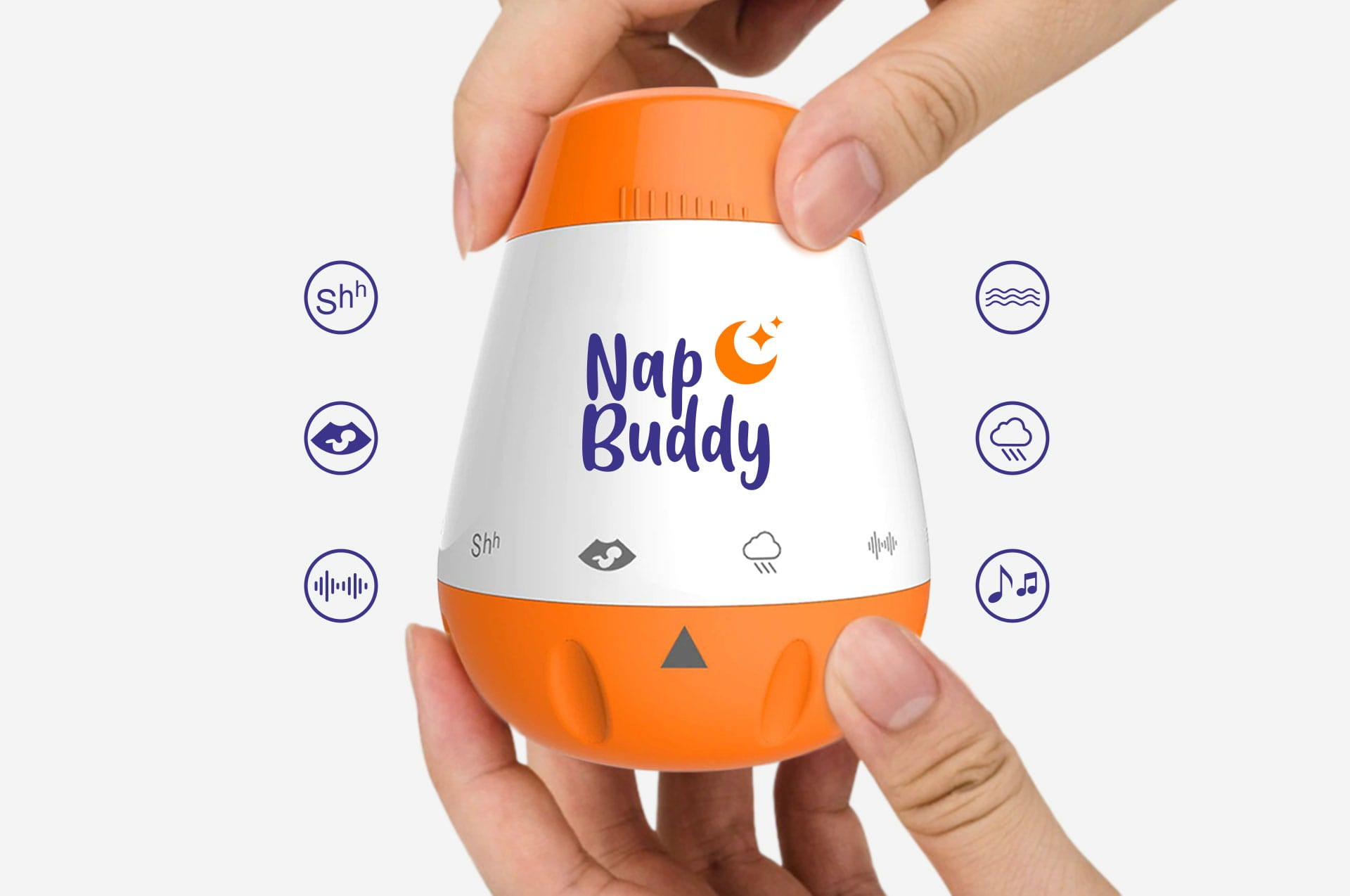 Six soothing sounds from NapBuddy's baby white noise machine