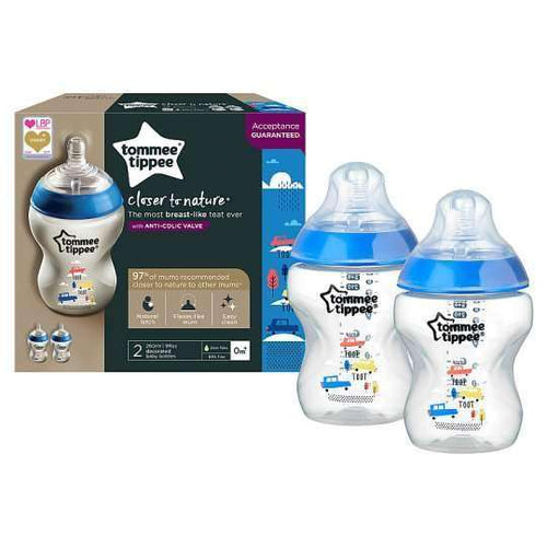 TOMMEE TIPPEE Art.42252175 Closer To Nature pudelīte (2X260 ml) zilā - Limpopo.eu