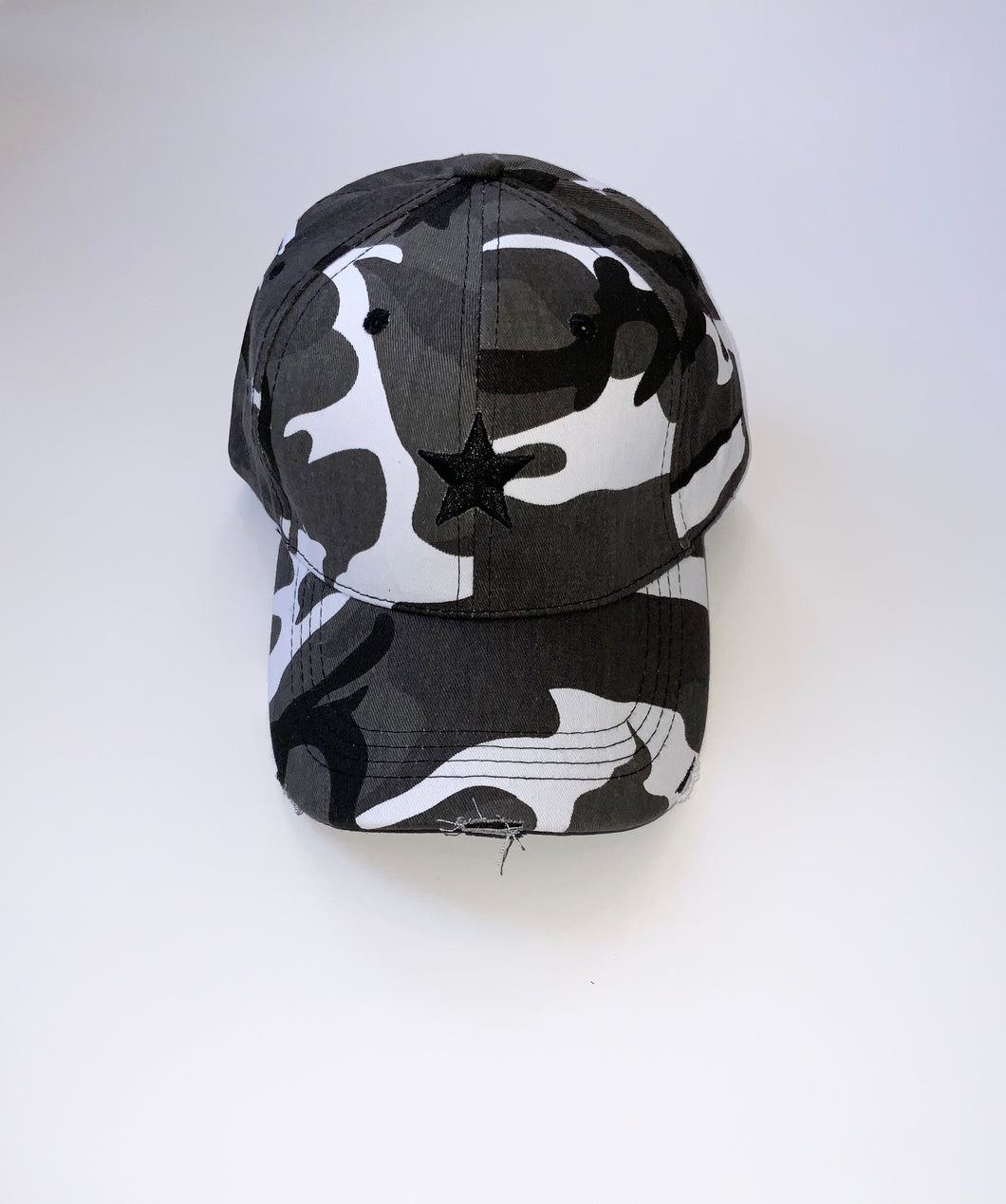 Grey Camo Black Star Cap