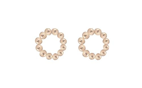 Gold Beaded Halo Stud Earrings