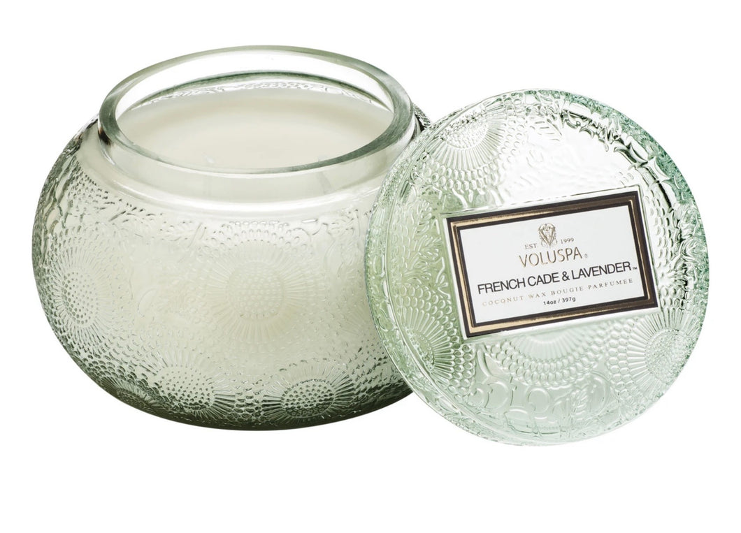 Voluspa French Cade and Lavender Cut Glass Candle with Lid
