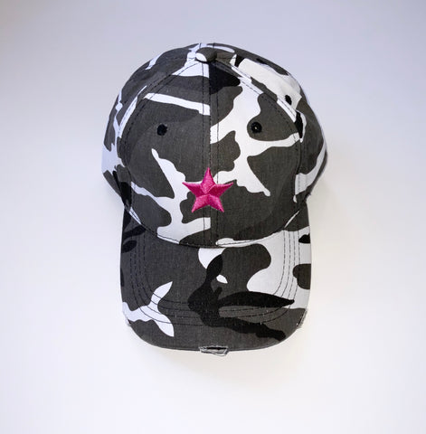 Grey Camo Pink Star Cap