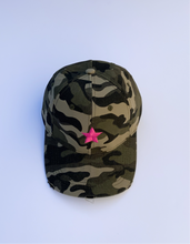 Load image into Gallery viewer, Green Camo Pink Star Cap