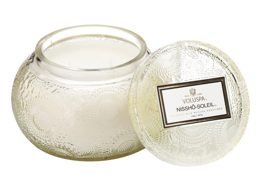 Voluspa Nissho-Soleil Cut Glass Candle with Lid