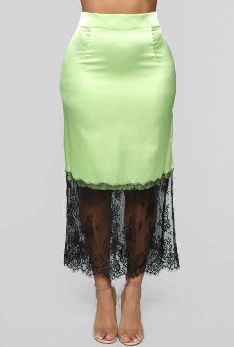 LILAC LOUNGE SLIP SKIRT - IN LIME