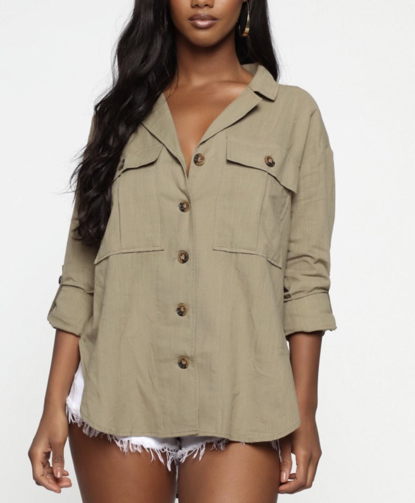 VERMILION BUTTON-DOWN UTILITY TOP