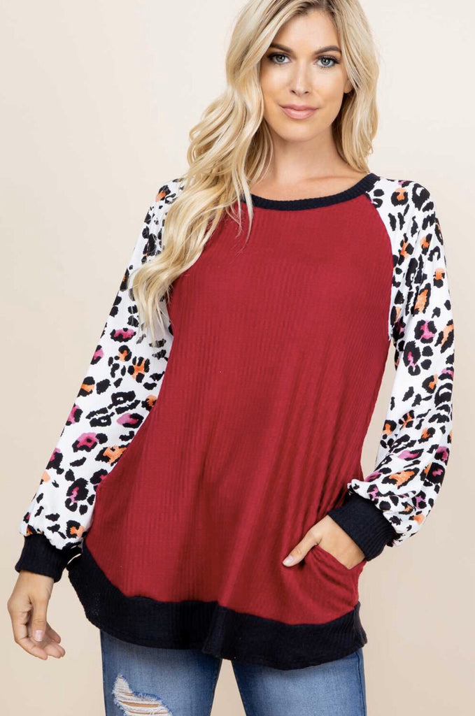 TTBSO CHEETAH SWEATER TOP