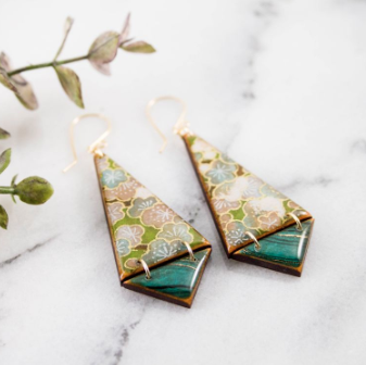 JAPANESE FLORAL TRIANGE EARRINGS