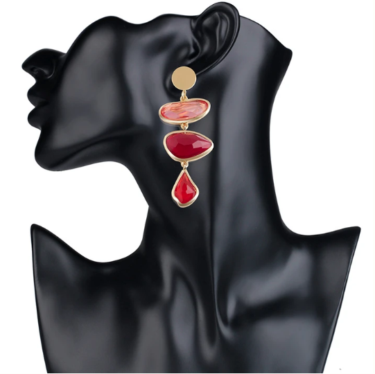 RED VALENTINA GEMSTONE EARRINGS