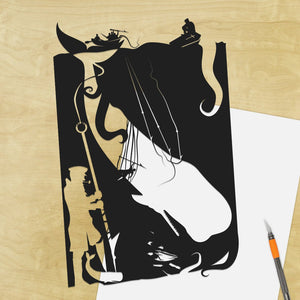 UNFRAMED Moby Dick Art Captain Ahab Herman Melville silhouette papercut Whale artwork Literary Paper art Novel artwork Classic book art