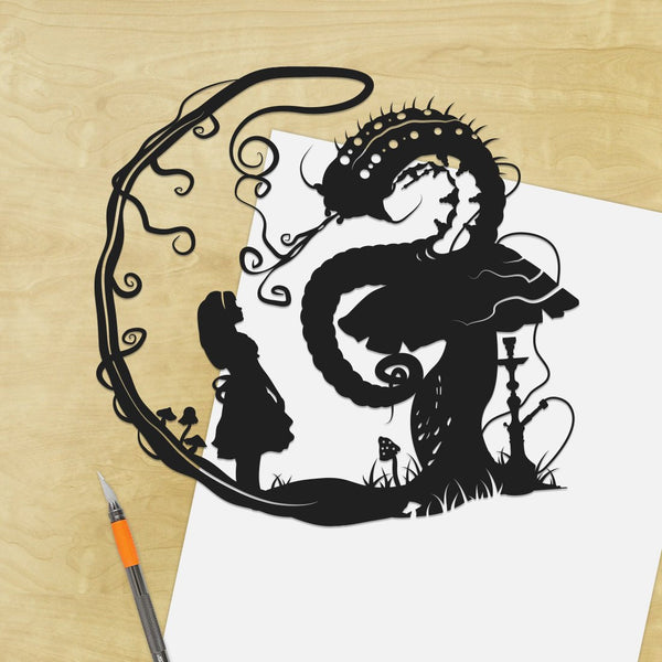 UNFRAMED Alice in Wonderland Caterpillar Who Are You Hookah Smoke Art Storybook Fairy Tale Papercut Absolem Fantasy Art Disney Home Decor