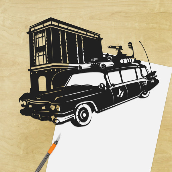 Ghostbusters Ecto 1  silhouette hand cut paper craft