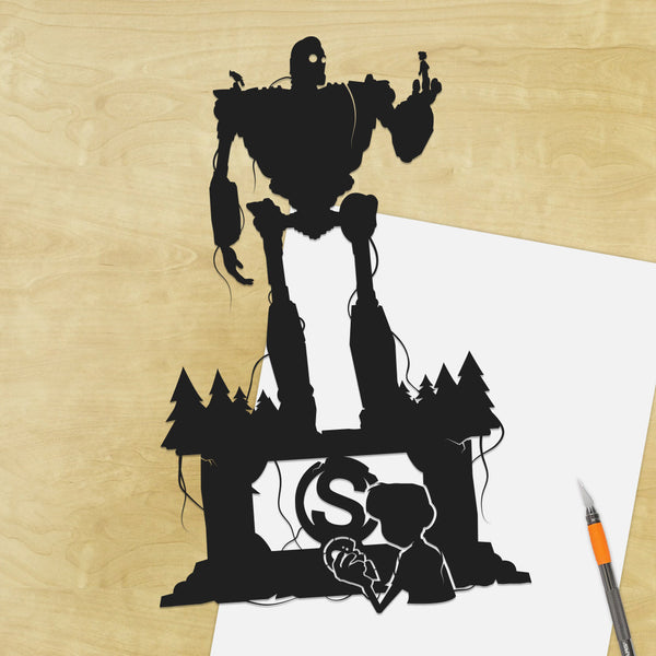 UNFRAMED Iron Giant and Hogarth best friends paper cut robot artwork iron giant artwork geek art sci fi art paper craft hand cut art