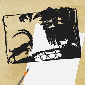 UNFRAMED Three Billy Goats Gruff // silhouette hand cut paper craft fairy tale fable framed wall art