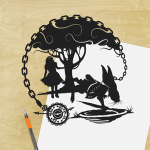 UNFRAMED Alice in Wonderland White Rabbit I'm Late Storybook Fairy Tale Papercut Follow The Lewis Carroll Fantasy Art Disney Home Decor
