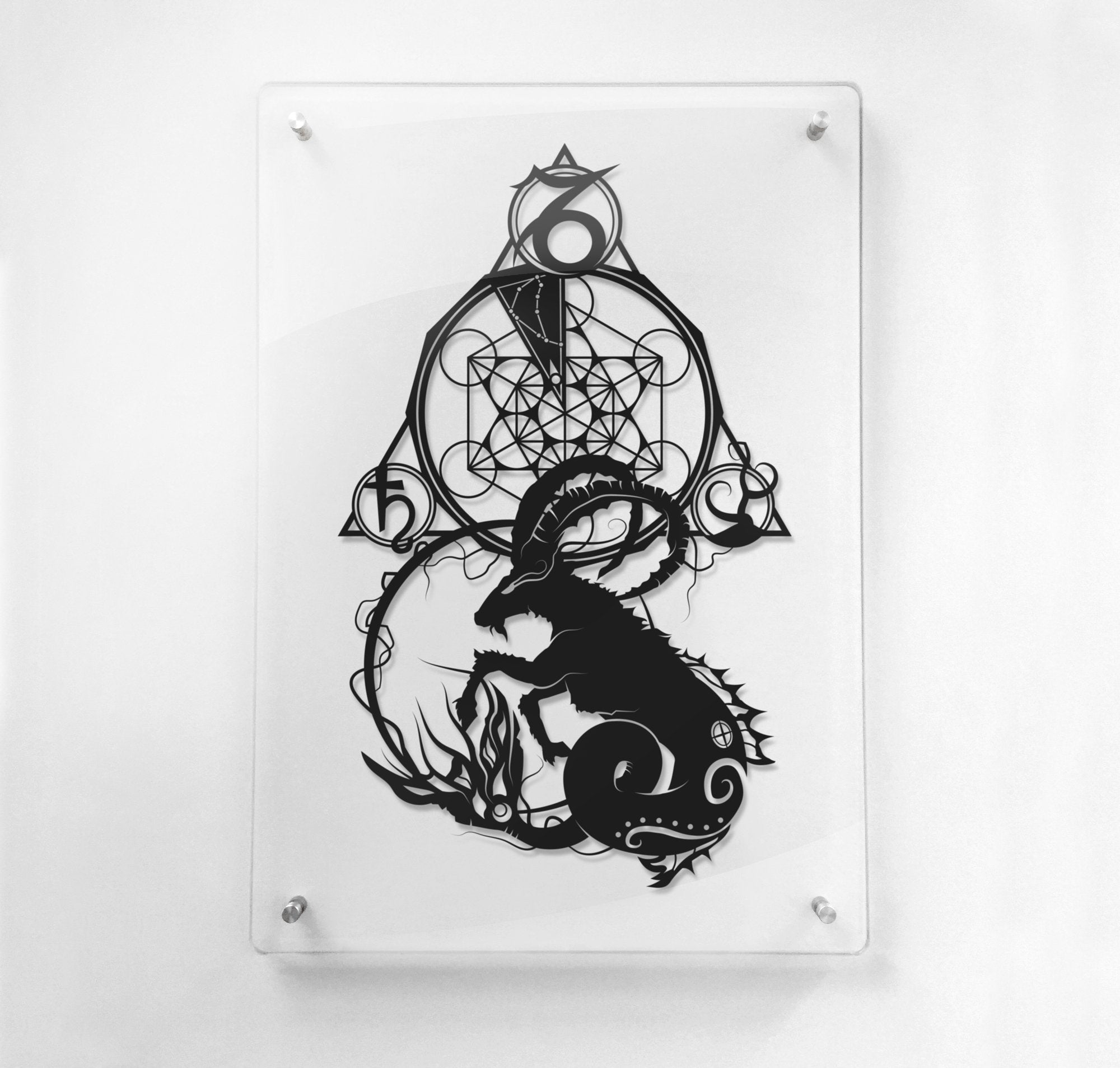 FRAMED Capricorn Zodiac Constellation Stars Sign silhouette Paper cut Birthday Gift Will Pigg