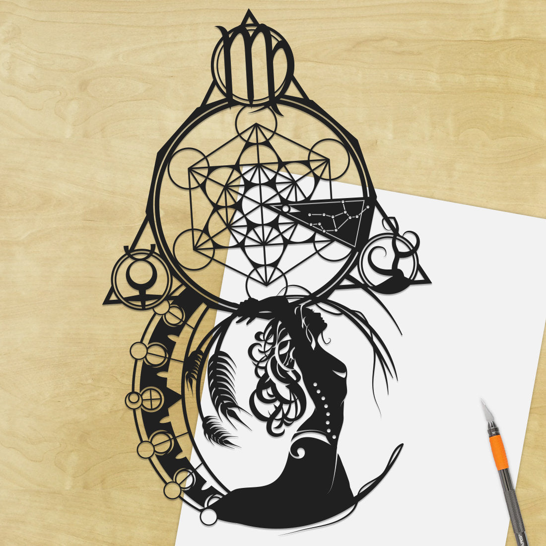 UNFRAMED Virgo Zodiac Constellation Stars Sign silhouette Paper cut Birthday Gift Will Pigg